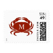 Monogrammed Crab Postage
