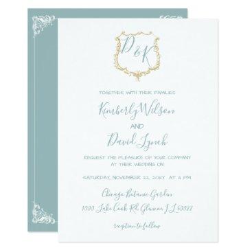 Monogrammed Crest Gold Dusty blue Wedding Card