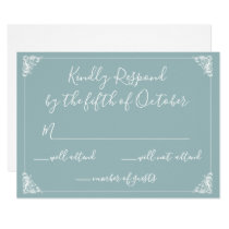 Monogrammed Crest Gold Dusty blue Wedding rsvp Card