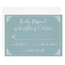 Monogrammed Crest Gold Dusty blue Wedding rsvp Card