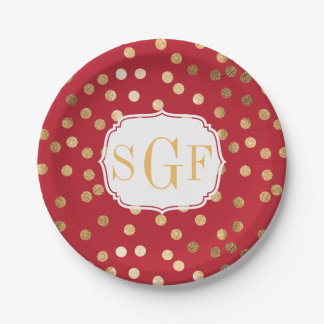 Monogrammed Crimson Red and Gold Glitter Dots Paper Plate