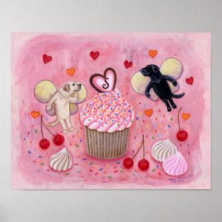 Monogrammed Cupcake and Labrador Fairies Artwork Posters