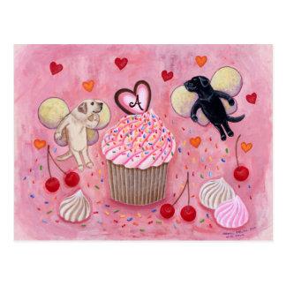 Monogrammed Cupcake and Labrador Fairies Postcard