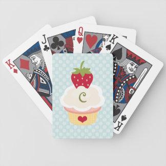 Monogrammed Cupcake Bicycle® Playing Cards
