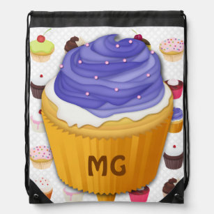 Monogrammed Cupcakes Galore - Drawstring Backpack bd6cf29099c4d