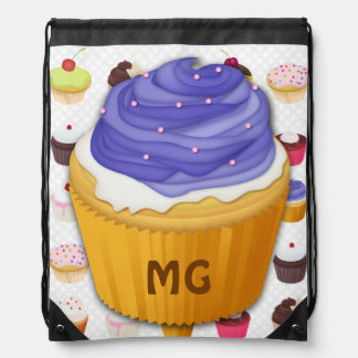 Monogrammed Cupcakes Galore - Drawstring Backpack