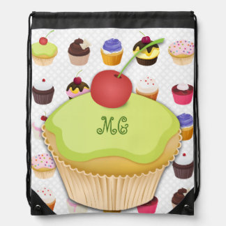 Monogrammed Cupcakes Galore - Drawstring Backpack3 Cinch Bag