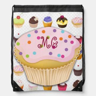 Monogrammed Cupcakes Galore - Drawstring Backpack4 Drawstring Backpack