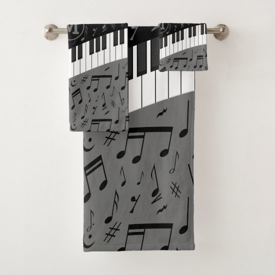 Monogrammed curve piano keys and musical notes bath towel set
