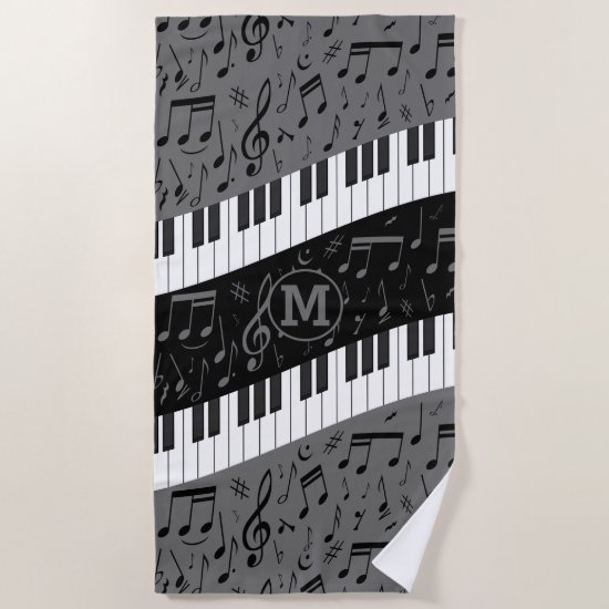 Monogrammed curve piano keys and musical notes beach towel