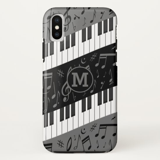 Monogrammed curve piano keys and musical notes iPhone XS case