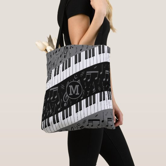 Monogrammed curve piano keys and musical notes tote bag