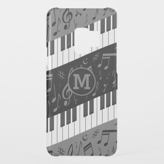 Monogrammed curve piano keys and musical notes uncommon samsung galaxy s9 case