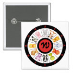 Monogrammed Cute Chinese Zodiac Circle 2 Inch Square Button