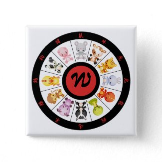 Monogrammed Cute Chinese Zodiac Circle Button button