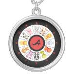 Monogrammed Cute Chinese Zodiac Circle Pendant
