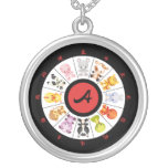 Monogrammed Cute Chinese Zodiac Circle Round Pendant Necklace