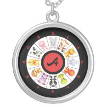Monogrammed Cute Chinese Zodiac Circle Silver Plated Necklace