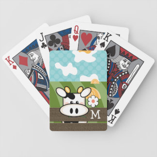 Monogrammed Cute Cow Playing Cards