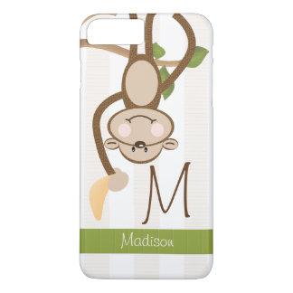 Monogrammed Cute Monkey iPhone 8 Plus/7 Plus Case