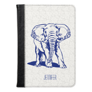 Monogrammed Cute Navy Blue Elephant Line Drawing Kindle Case