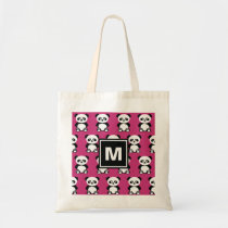 Monogrammed Cute Panda Bear Animal Kawaii Pink Kid Tote Bag