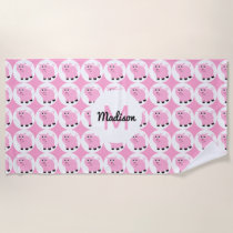 Monogrammed Cute Pink Pig Pattern Girls Animal Beach Towel