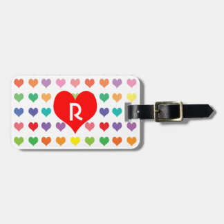 Monogrammed Cute Rainbow of Colors Heart Pattern Tags For Luggage