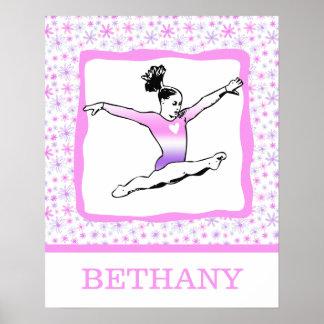 Monogrammed Dainty Floral Gymnastics Poster
