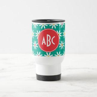 Monogrammed Daisy Dots Coffee Mugs