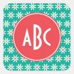 Monogrammed Daisy Dots Square Sticker