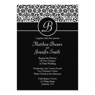 Monogrammed Damask Custom Wedding Invitation Personalized Invitations