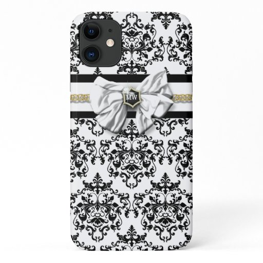 Monogrammed damask French pattern black white bow iPhone 11 Case