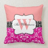Monogrammed Damask Pink Peach Black Throw Pillow