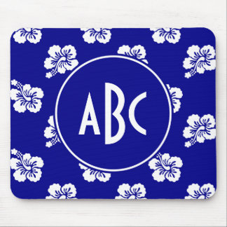 Monogrammed Dark Blue and White Hawaiian Pattern Mouse Pad