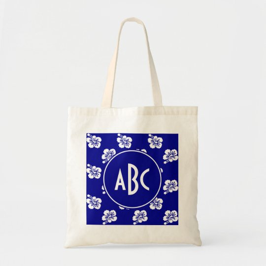 Monogrammed Dark Blue and White Hawaiian Pattern Tote Bag