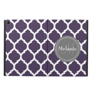 Monogrammed Dark Purple & Grey Quatrefoil Case For iPad Air