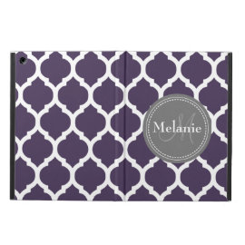 Monogrammed Dark Purple & Grey Quatrefoil iPad Air Covers