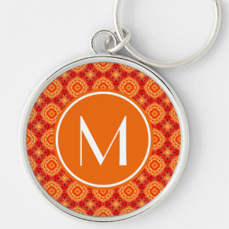 Monogrammed Deco Red Orange Floral Octagon Pattern Keychain