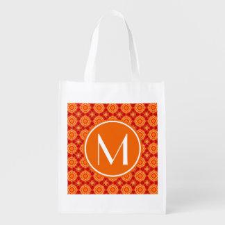 Monogrammed Deco Red Orange Floral Octagon Pattern Reusable Grocery Bag