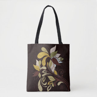 Monogrammed Deep Brown Bold Leafy Autumn Tote Bag