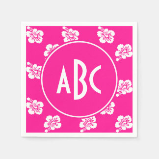 Monogrammed Deep Pink and White Hawaiian Pattern Napkin