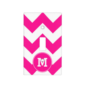 Monogrammed Deep Pink Zigzag Pattern Light Switch Cover