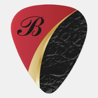 Monogrammed Deep Red Gold and Black Leather Guitar Pick