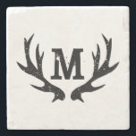"Monogrammed deer antlers marble stone coasters<br><div class=""desc"">Monogrammed deer antlers marble stone coasters. Custom home decor with hunting / hunter theme. Add your own surname or name initial letter. Vintage country chic distressed style design.</div>"
