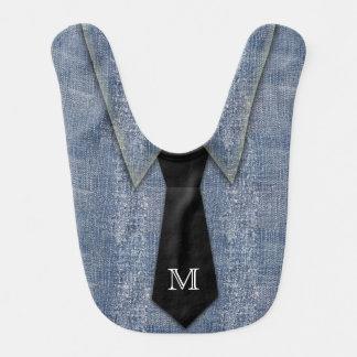 Monogrammed Denim-Look Necktie Baby Bib