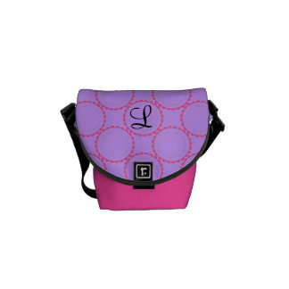 Monogrammed designer pink purple black bag