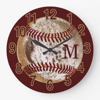 Monogrammed Dirty Baseball Clocks for Man Cave