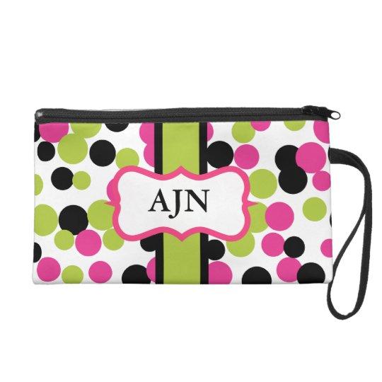 Monogrammed Dots Wristlet Bag