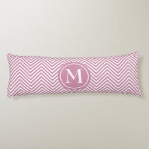 Monogrammed Dusty Rose & White Zigzag-Body Pillow